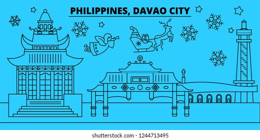Philippines, Davao City winter holidays skyline. Merry Christmas, Happy New Year decorated banner with Santa Claus.Philippines, Davao City linear christmas city vector flat illustration