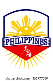 Philippines emblem design with sun, three stars and map