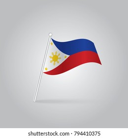 Philippines flag with flagpole flat icon with long shadow. Vector illustration EPS10