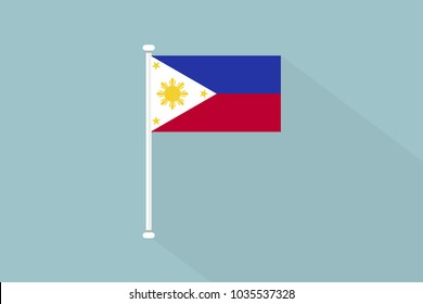 Philippines Flag with flagpole,vector illustration