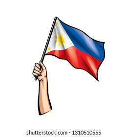 Philippines flag and hand on white background. Vector illustration