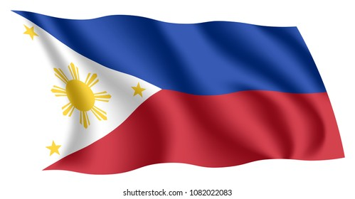Philippines flag. Isolated national flag of the Philippines. Waving flag of the Republic of the Philippines. Fluttering textile filipino flag.