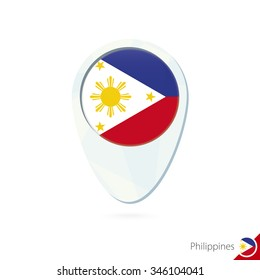 Philippines flag location map pin icon on white background. Vector Illustration.