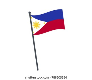 Philippines flag. The national flag of Philippines on a pole. The waving flag. The sign and symbol of the country. Realistic vector on white.