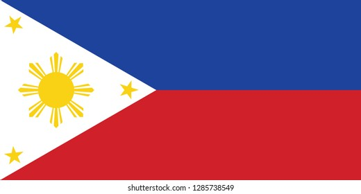 Philippines flag, official colors and proportion correctly. National Philippines  flag. Vector illustration. EPS10. Philippines flag vector icon, simple, flat design for web or mobile app.
