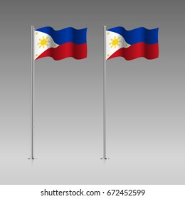 Philippines flag on the flagpole. Official colors and proportion correctly. High detailed vector illustration. 3d and isometry. EPS10