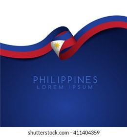 Philippines Flag Ribbon : Vector Illustration