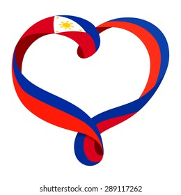 Philippines flag ribbon-shaped heart, symbol of love and harmony, vector illustration.