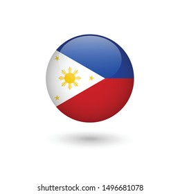 Philippines flag - round glossy button, Vector image and icon