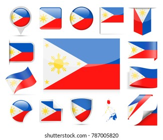 Philippines Flag Set - Vector Illustration