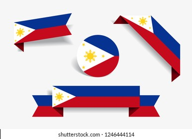 Philippines flag stickers and labels set. Vector illustration.