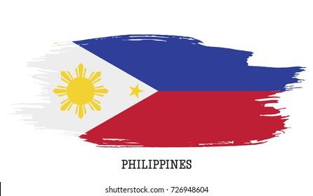 Philippines flag vector grunge paint stroke