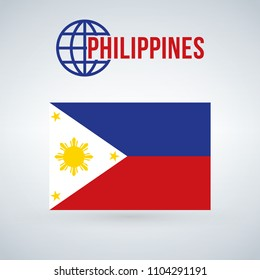 philippines flag vector illustration isolated on modern background with shadow.