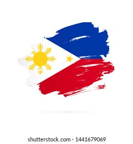 Philippines flag. Vector illustration on white background. Brush strokes drawn by hand.