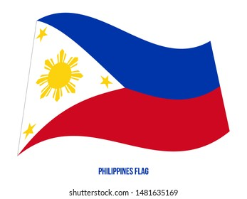 Philippines Flag Waving Vector Illustration on White Background. Philippines National Flag.