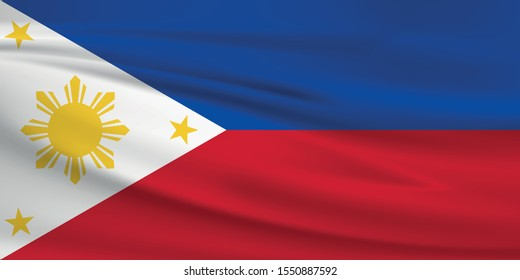 Philippines flag waving with wind effect