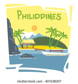 Philippines flyer with the beach and palm trees