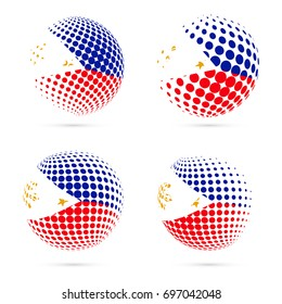 Philippines halftone flag set patriotic vector design. 3D halftone sphere in national flag colors isolated on white background.