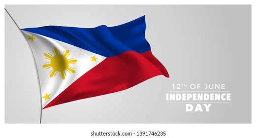 Philippines happy independence day greeting card, banner, horizontal vector illustration. Philippine holiday 12th of June design element with waving flag as a symbol of independence