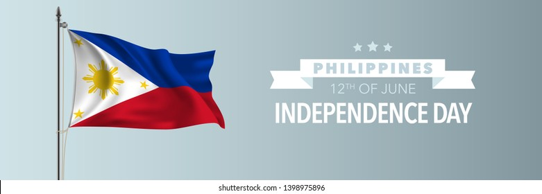 Philippines happy independence day greeting card, banner vector illustration. Philippino national holiday 12th of June design element with waving flag on flagpole