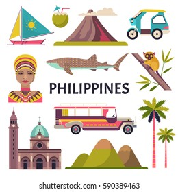 Philippines icons set. Vector collection of Philippine culture and nature images, including Fort Santiago, portrait of a woman, tricycle, jeepney and a whale shark. Isolated on white.
