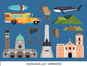 Philippines illustration, vector, travel, landmark, culture, food