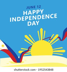 Philippines independence day greeting card. South Asian national day vector illustration with a long wavy flag and the sunny day scenery.