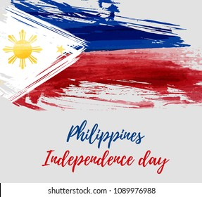 Philippines Independence day holiday background. With watercolor abstract flag. Template for holiday poster, banner, flyer, invitation
