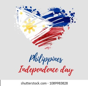 Philippines Independence day holiday background. With watercolor abstract flag in grunge heart shape. Template for holiday poster, banner, flyer, invitation