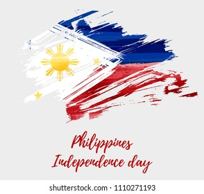 Philippines Independence day holiday background with abstract grunge brushed flag.