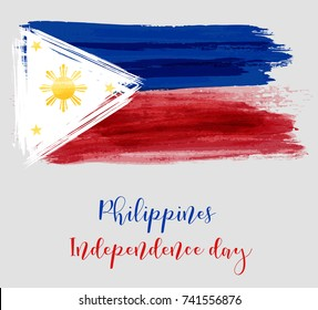 Philippines Independence day holiday background. With watercolor abstract flag.