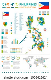 Philippines infographic map and flag - High Detailed Vector Illustration