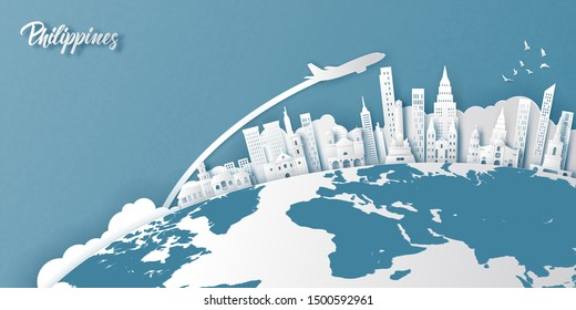 Philippines landmarks on earth in paper cut style vector illustration.