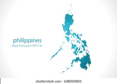 philippines Map Abstract geometric rumpled triangular low poly style gradient graphic on white background