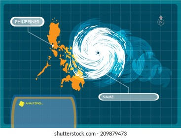 Philippines Map with Eye of Typhoon, Cyclone or Storm Vector. Editable Clip Art.