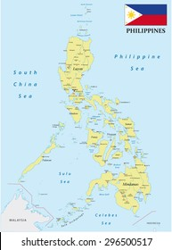 Philippines map with flag