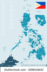 Philippines map and flag - High Detailed Vector Illustration