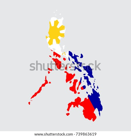 cea1898bb1a32 Philippines Map Flag On Grey Background Stock Vector (Royalty Free ...