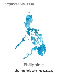 Philippines map in geometric polygonal style.Abstract gems triangle,modern design background. Vector illustration EPS10
