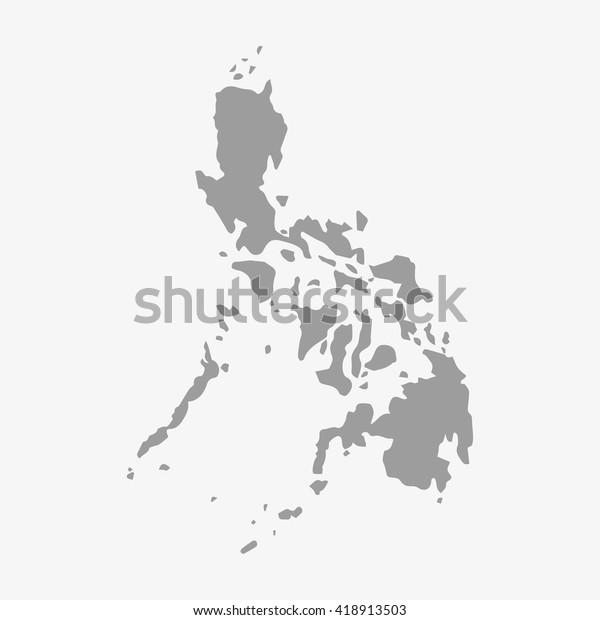 Filippiinit Kartta Harmaalla Valkoisella Taustalla Arkistovektori