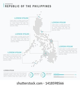 Philippines map infographics with abstract pixelated dot pattern on white background. Stylized map concept with elementsl. - Vector illustration