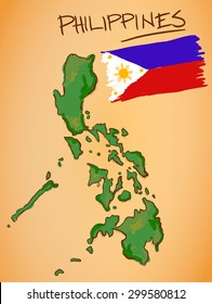 Philippines Map and National Flag Vector