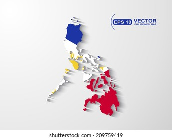Philippines map with shadow effect