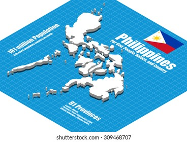 Philippines map vector three dimensional