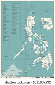 Philippines Map - Vintage High Detailed Vector Illustration