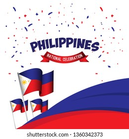 Philippines National Celebration Poster Vector Template Design Illustration