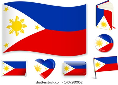 Philippines national flag in wave, book, circle, pin, button, heart and sticker shapes.