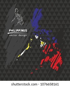 Philippines national vector map with sketch chalk flag. Sketch chalk hand drawn illustration