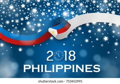 Philippines New Year 2018 National greeting card luxury style flag ribbon concept. Vector Illustration