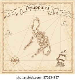 Philippines old treasure map. Sepia engraved template of Philippines treasure map. Stylized Philippines treasure map on vintage torn paper.